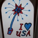 Patriotic Fireworks Wood Garden sign