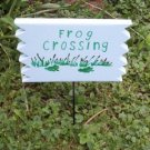 Frog Crossing Wood Garden Sign