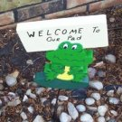 Welcome to our pad  frog garden sign