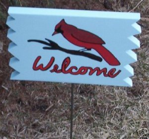 Cardinal Welcome Garden Sign