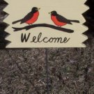 Robin birds  Welcome garden sign
