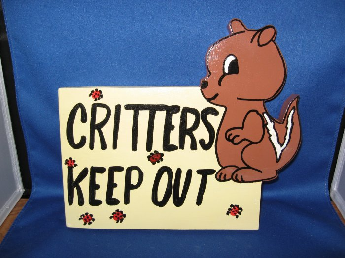 Critters Keep Out Wood Garden Sign