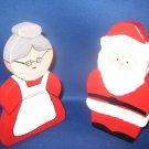 Mr and Mrs Santa Claus Wood Christmas decoration