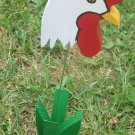 Rooster chicken garden flower wood