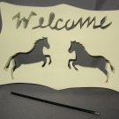 Welcome Horses horse wood garden sign