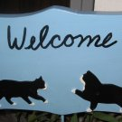 Welcome Wood Sign with cats blue background