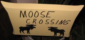 Moose Crossing wood garden sign