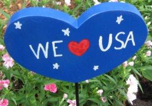 We love USA Heart shaped Wood Garden Sign