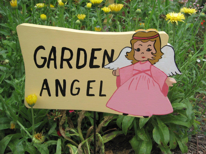 Garden Angel wood garden sign