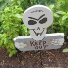 Skeleton Keep Out Wood Halloween Yard Art