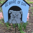 Beware of Dog wood garden sign