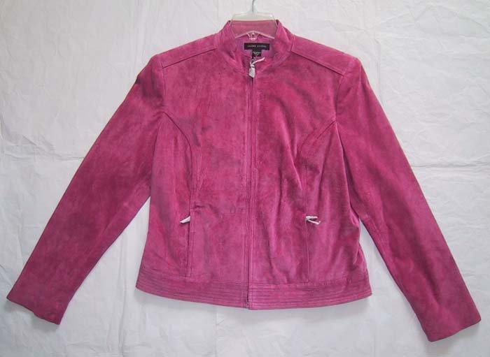 *SALE* Valerie Stevens Sportswear Separates Pink Leather Suede Jacket Motorcyle Style Size M