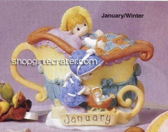Precious Moments by Enesco January/Winter Collectible Mini Teapot