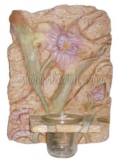 *SALE* Iris Floral Candleholder Ceramic Hanging Wall Plaque