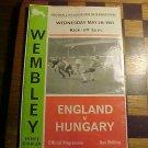 England vs Hungary  soccer program 5-5-1965
