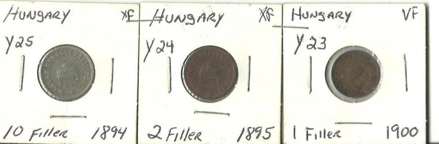Old Hungarian Fillers coins 1894 1895 1900