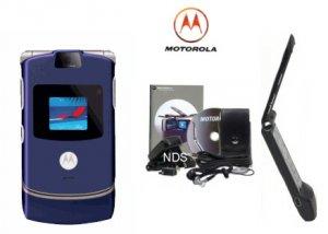 Motorola V3 Blue Razr Ultra Slim Cellular Phone Combo