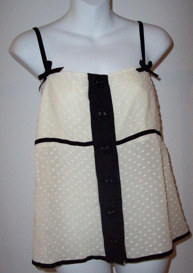 MANOUSH anthropologie Soir T Silk Lace Bow Button Tank Cami Top L 42
