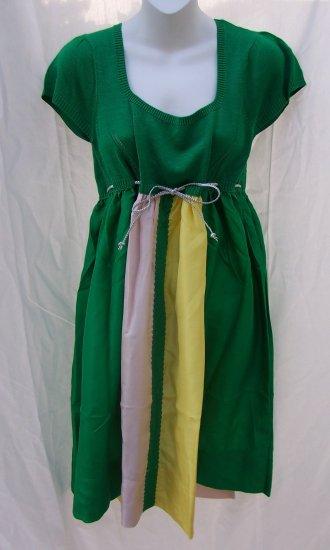 MANOUSH Anthropologie Tricolor Silk Knit Empire Dress L