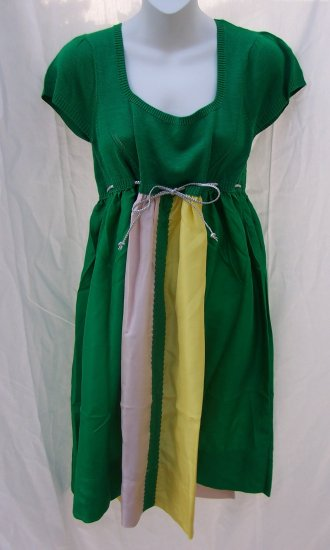 MANOUSH Paris Emerald Tricolor Silk Knit Empire Dress S