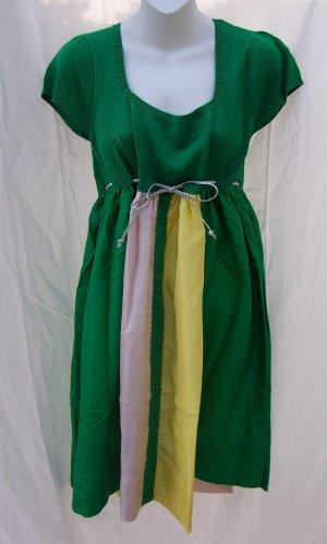 MANOUSH Paris Emerald Tricolor Silk Knit Empire Dress S