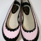 MANOUSH Pink Black Plaid Gingham Patent Leather Ballerina Flat 40