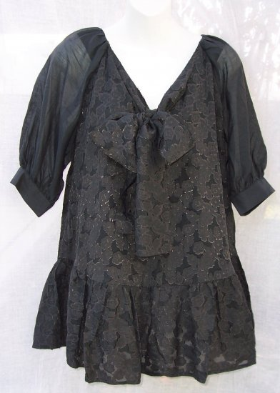 MANOUSH Bow Front Silk Gray Tunic Tier Mini Dress Lame