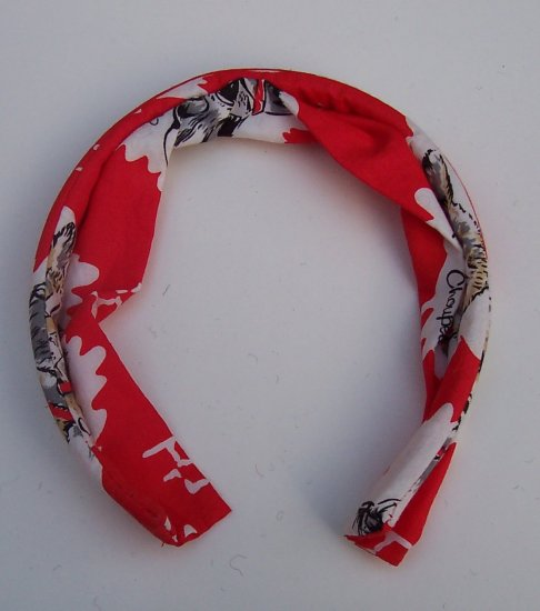 anthropologie MANOUSH Red Cat Dog Print Headband NWT