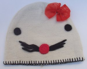 MANOUSH French Bonnet Kitty Wool Beanie Cap Hat Red Bow