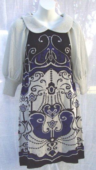 MANOUSH Mod Art Deco Metallic Mini Knit Sweater Dress M