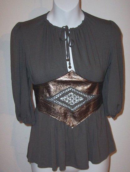 INGWA MELERO Grey Phoenix Jersey Leather 3/4 Slv Top XS