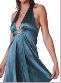 INGWA MELERO Teal Satin Star Halter Dress L