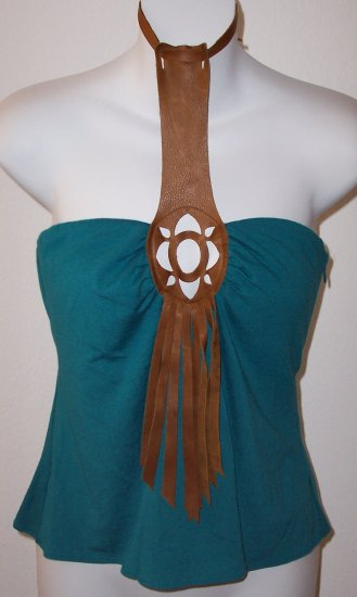 INGWA MELERO Emerald Brown Leather Solar T Jersey Top M