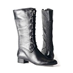SOPHIA KOKOSALAKI Nine West Black Flat Leather Military Boot 6.5