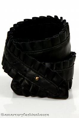 Karen ZAMBOS Elegantly Waisted Black Leather Ruffle Belt