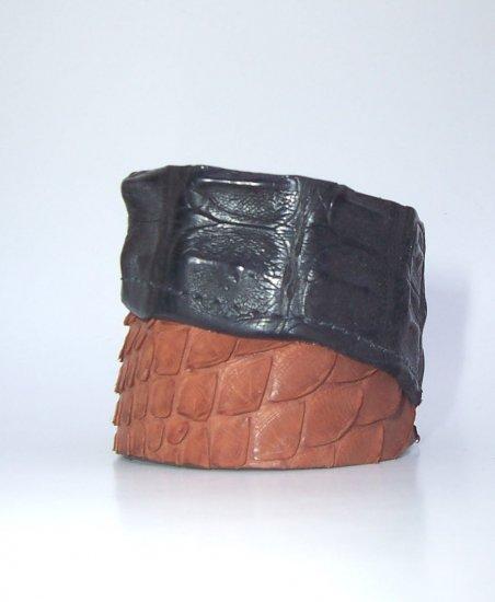 Recycled Crocodile Snake Bracelet Snap Cuff from Brazil