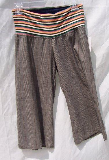 T-BAGS LA Plaid Striped Trouser Shorts Cullots S $180