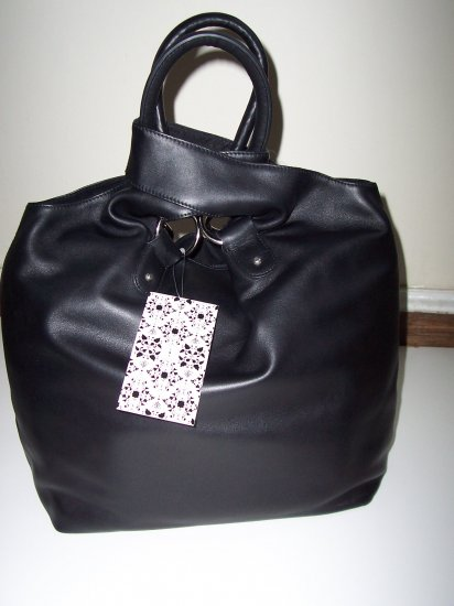 THAKOON Black Leather Day Shopper Purse Nine West NWT