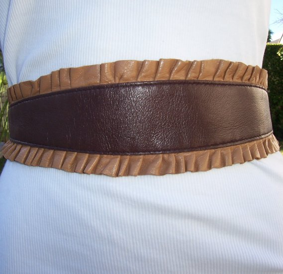 Karen ZAMBOS Elegantly Waisted Brown Tan Leather Ruffle Belt