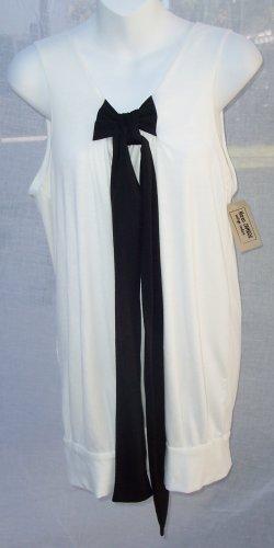 KAREN ZAMBOS KZ jerZey Retro Ivory Tie Tank Tunic Dress