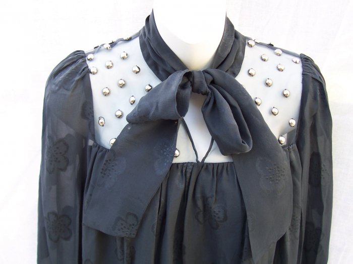 MANOUSH Gray Jacquard Silk Pussybow Stud Smock Dress S