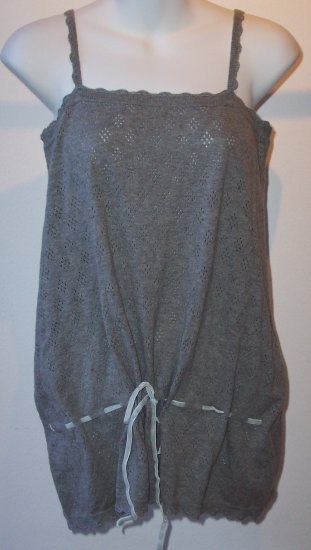 PAUL& JOE SISTER Grey Cashmere Tie Tank Cami Pointelle