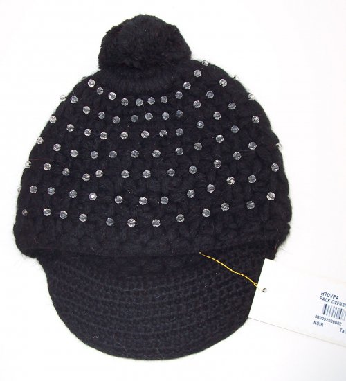 MANOUSH Black Angora Crystal Pom Pom Newsboy Hat Cap