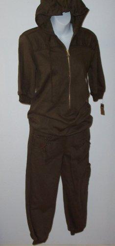 Rare MIKE & CHRIS Jesse Olive Fleece Hoodie Jumpsuit S