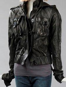 MIKE & CHRIS Clark Black Leather Hoodie Jacket $930