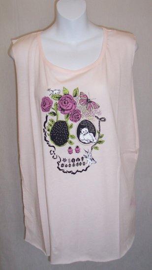 MANOUSH Pink Butterfly Cat Skull Logo Tee T Shirt L