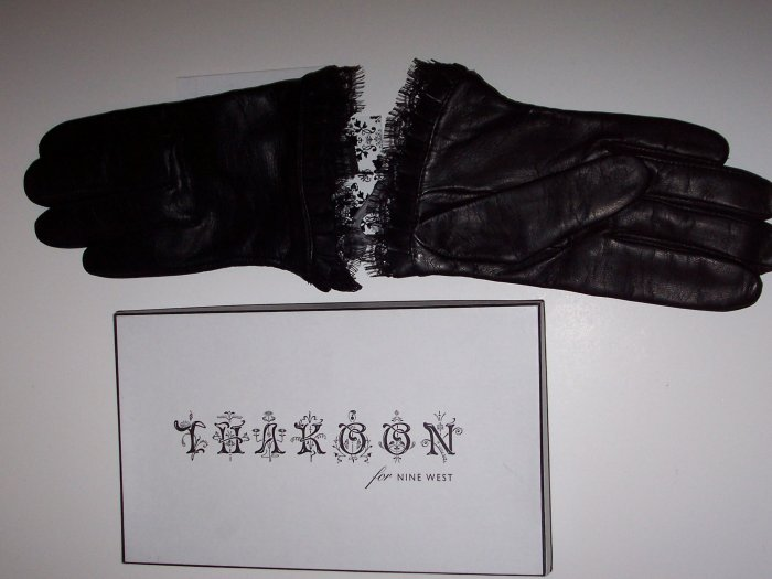 THAKOON Black Leather Peek-a-Boo Lace Glove Retro 80s L