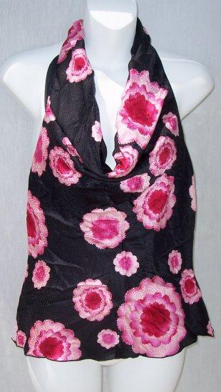 TRINA TURK Retro Flower Art Deco Silk Halter Top Shirt