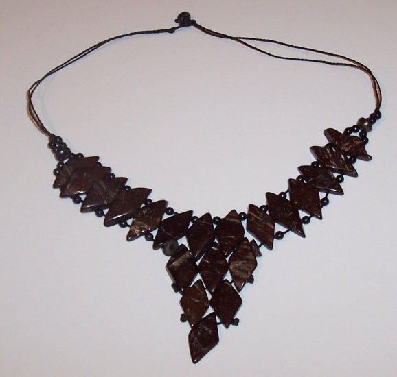 Brazilian Wood Bead Diamond Shaped Choker Necklace Calypso