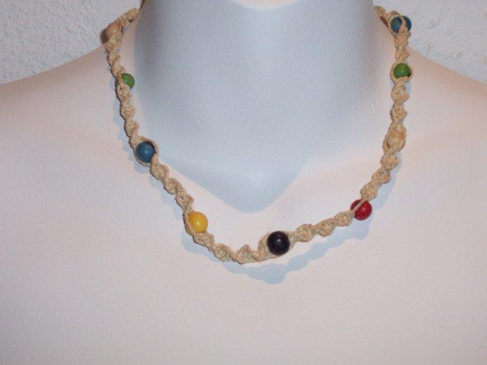 Brazilian Wood Bead Crochet Boho Hand Crafted Choker Necklace